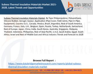 Subsea Thermal Insulation Materials Market 2021-2028, Latest Trends and Opportunities.pptx