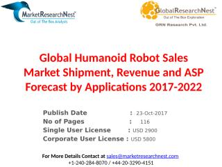 Global Humanoid Robot Sales Market Shipment, Revenue and ASP Forecast by Applications 2017-2022.pptx