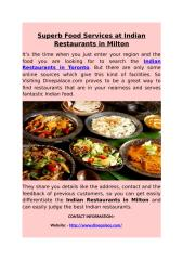 Superb Food Services at Indian Restaurants in Milton.docx