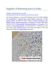 Supplier of Ramming mass in India.pdf
