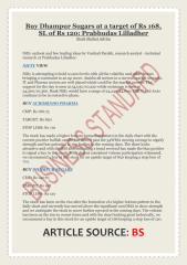 Buy Dhampur Sugars at a target of Rs 168, SL of Rs 120- Prabhudas Lilladher.pdf
