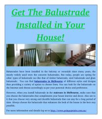 Get The Balustrade Installed in Your House!.pdf