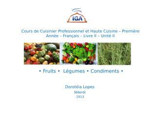 IGA - Français Cuisinier Professionnel Première anée Livre II Unité II.ppt